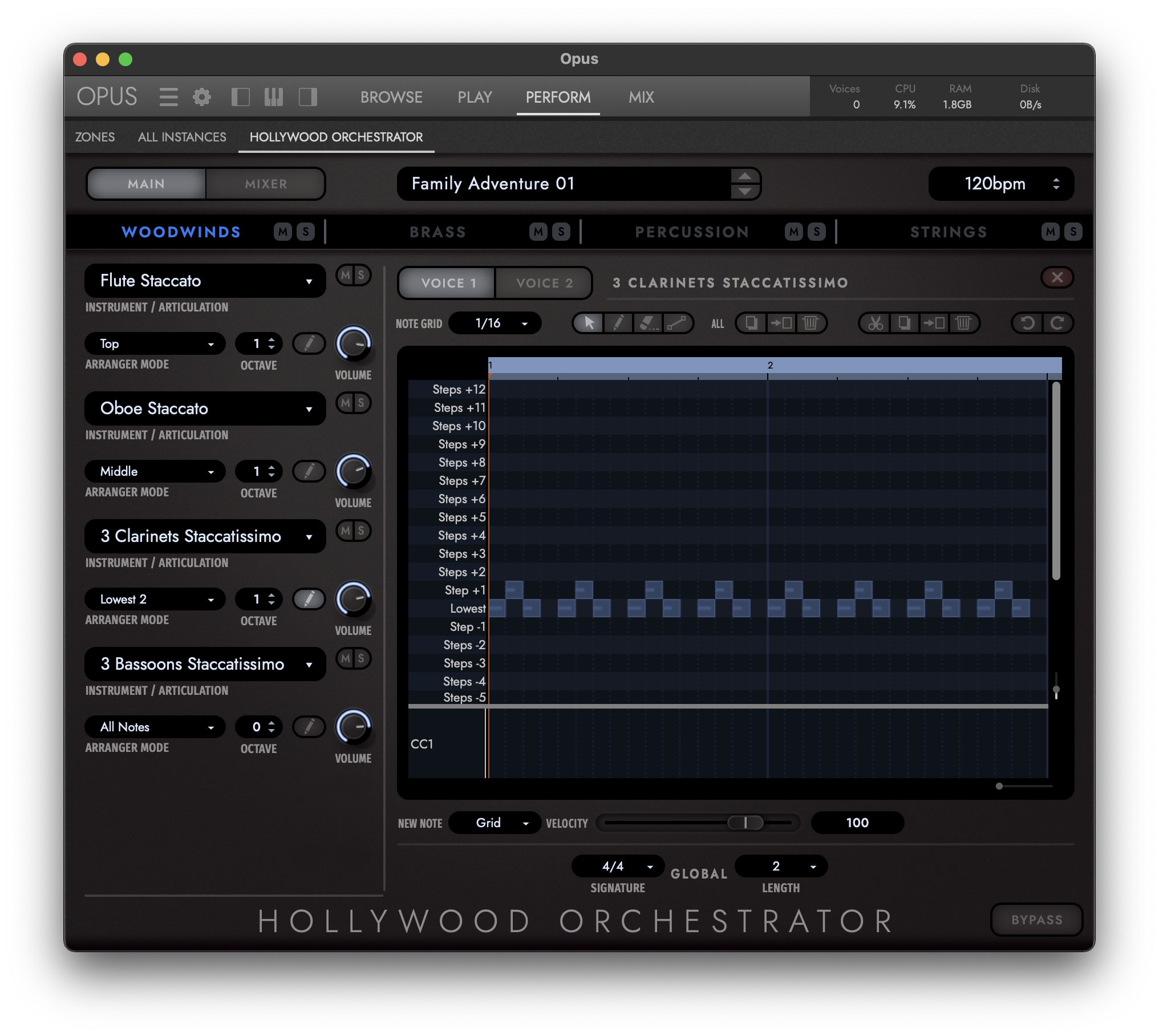 Hollywood Orchestrator - Midi Edit View