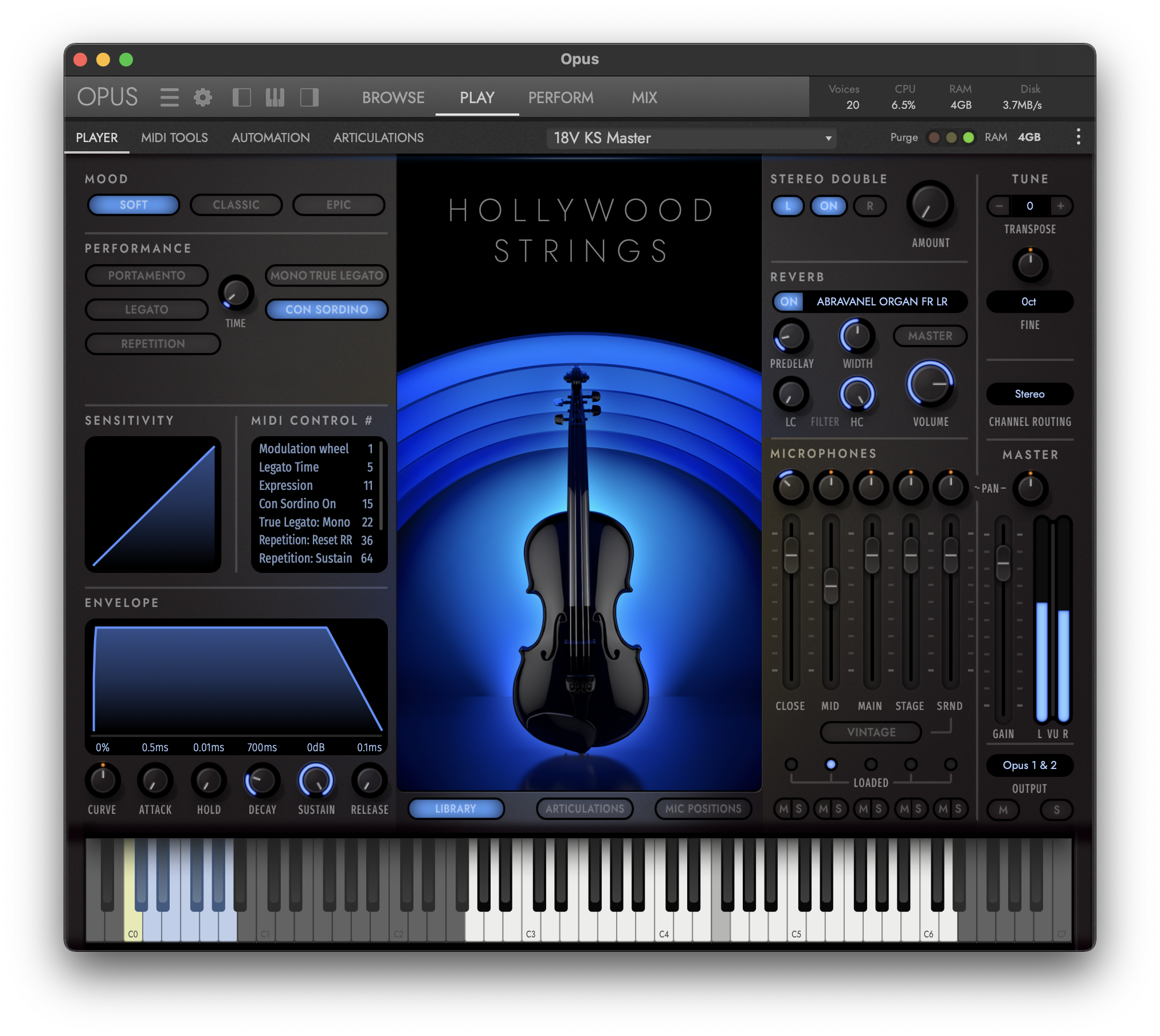 Hollywood Orchestra Opus Edition Interface - Hollywood Solo Violin - Soft