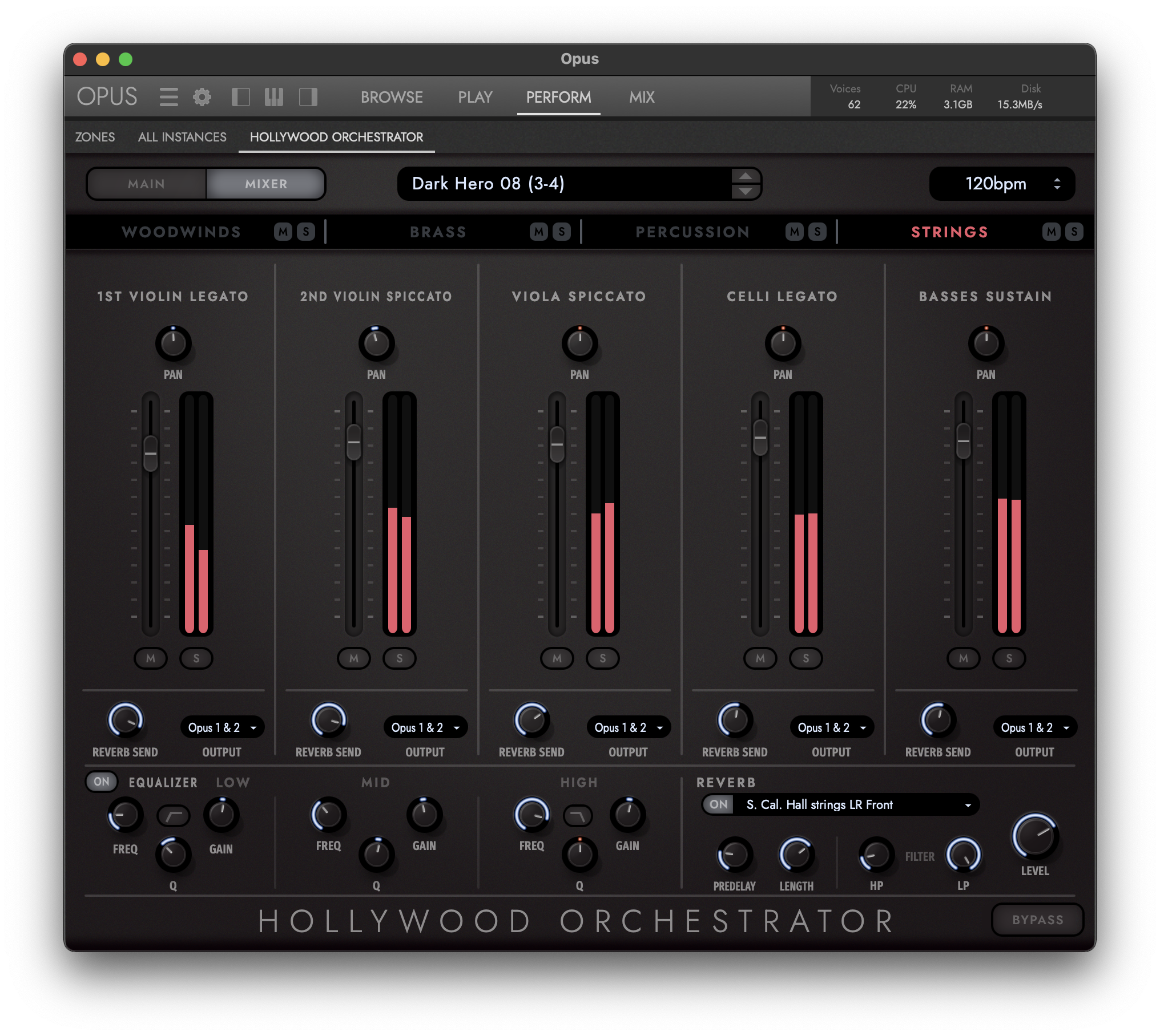 Hollywood Orchestrator - Mixer View