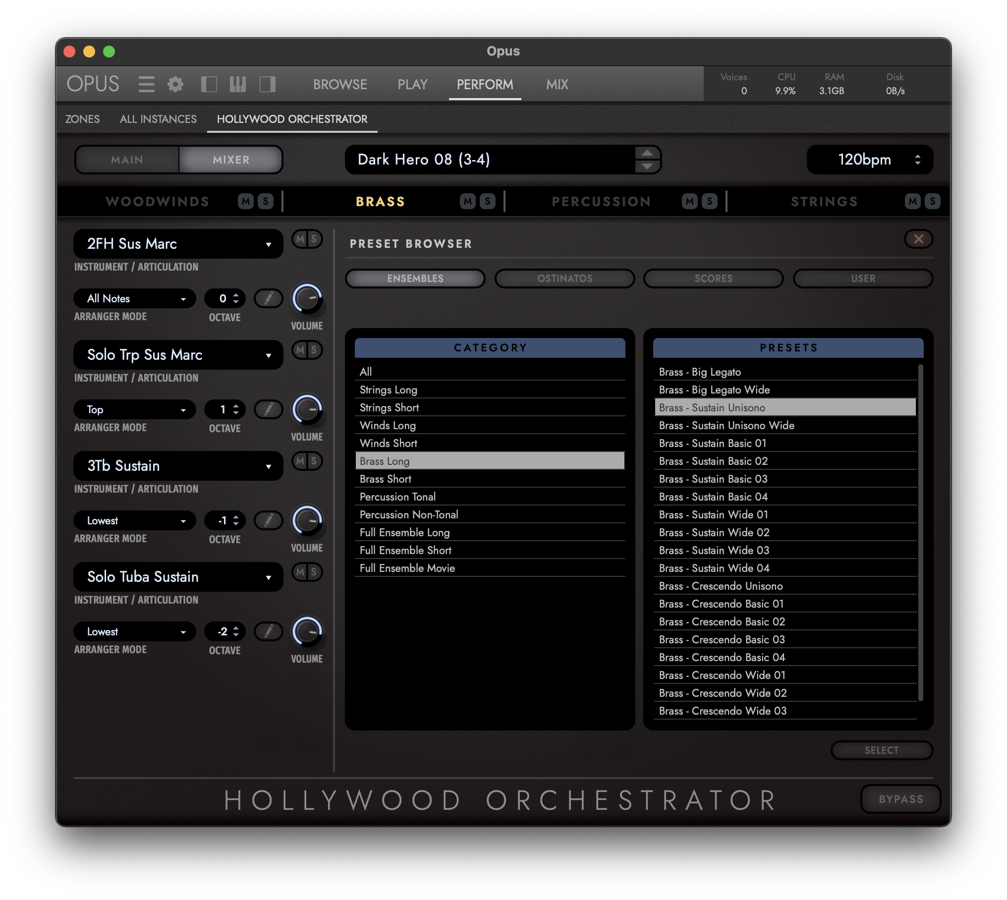 Hollywood Orchestrator - Preset View